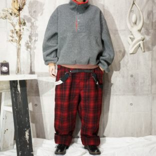 Woolrich red piping brown rib fleece pullover