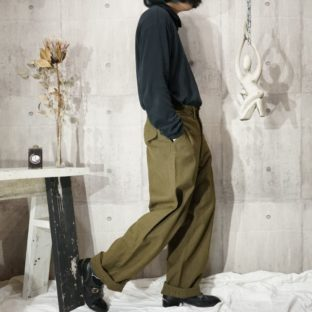 1950s~ military wool wide trousers