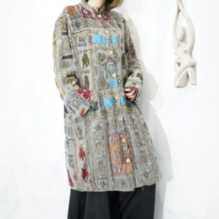 many animal patch mural pattern coat