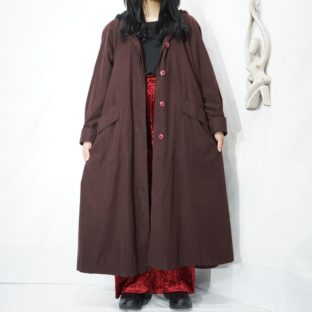 purple brown velours hooded coat *