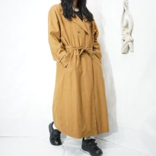 smooth poly camel long trench coat
