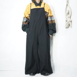 oversized black super wide salopette *