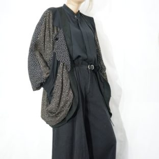 black base like 和 pattern switching drape & drape jacket