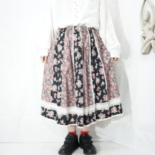 retro flower pattern lace design skirt *