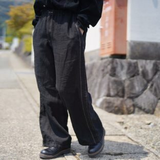 【Atozome】side stitch design easy slacks *