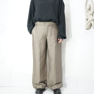 earth color stripe wide slacks *