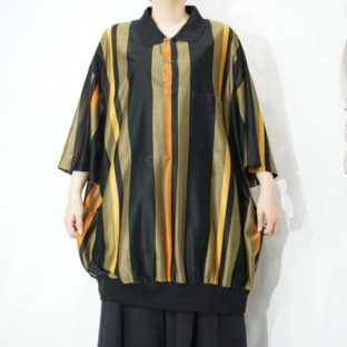 oversized black base stripe see-through pullover shirt *