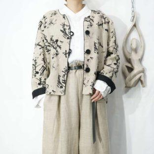 cursive text pattern no-collar design jacket *
