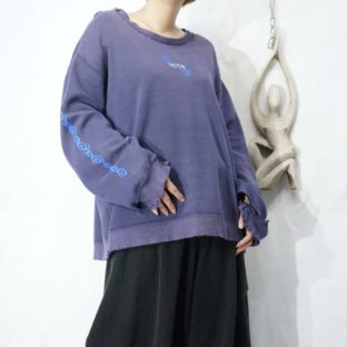 fade purple BORO arm print sweat *