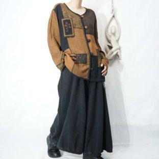 brown base multi cloth switching patch design shirt jacket *