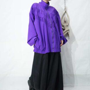 oversized purple pleats switching design blouson