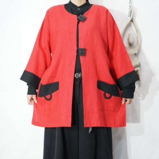 red × black bi-color switching 2B design jacket *