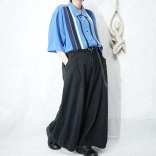 Nat Nast sax blue base multi line design silk shirt *