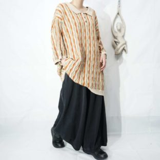 oversized warm color rib design 3D knit pullover