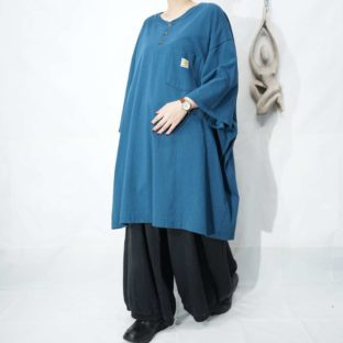 【Carhartt】XXXXL monster sized turquoise blue henley neck tee