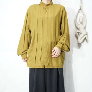 olive khaki color flyfront embroidery pleats design shirt *