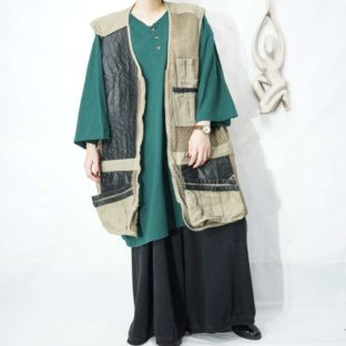 XXXL oversized leather switching hunting vest *