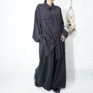 oversized black purple flap pocket design shirt *