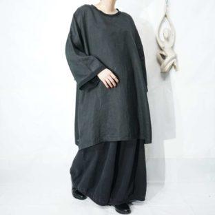XXXXL rib design black linen tee cut&sewn pullover *