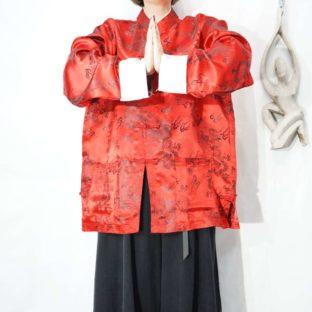red × white bi-color China shirt *