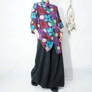 purple base multi color flower pattern silk shirt *