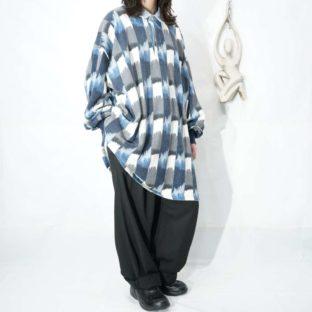 oversized gradation blue pullover shirt *