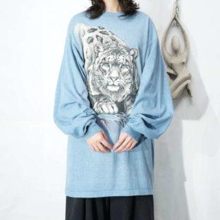 sax blue white tiger print L/S tee *