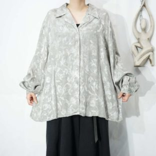leaf relief pattern silver open-collar shirt