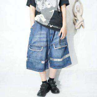 【MARITHE FRANCOIS GIRBAUD】indigo blue × gray velcro buggy shorts *