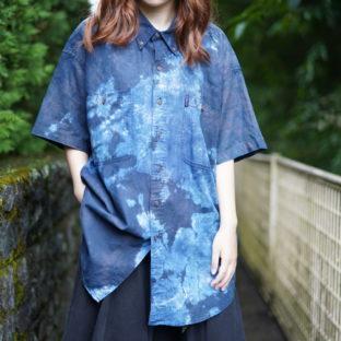 【藍染】CHAPS RalphLauren deep blue tone tie-dye shirt - 10 *