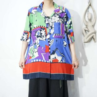 multi color flower silhouette pattern terotero shirt *