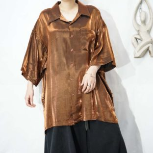 glossy chocolate brown open-collar S/S shirt *