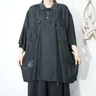 black double pocket design silk shirt pullover *
