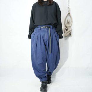 blue purple high-waist many tuck pants *
