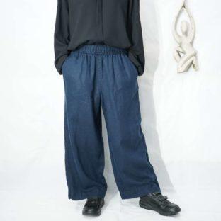 navy linen easy wide slacks *