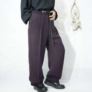 deep purple herringbone woven pattern 2tuck wide slacks *