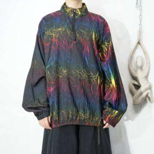 black base colorful transcription halfzip pullover *