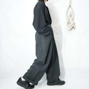 monster oversized dark gray gimmick tuckless wide pants *