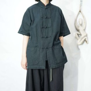 【Atozome】black overdye China shirt *