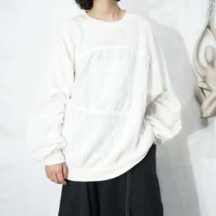 white woven switching raglan L/S sweat