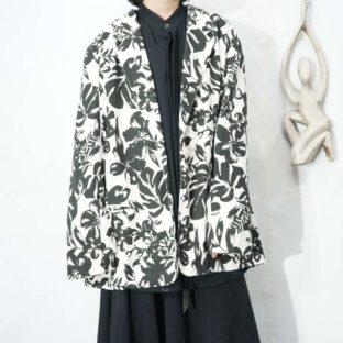 monotone flower pattern easy jacket