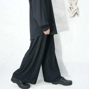 glossy pleats wide easy pants *