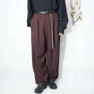 drape silhouette bordeaux purple 3tuck wide slacks *