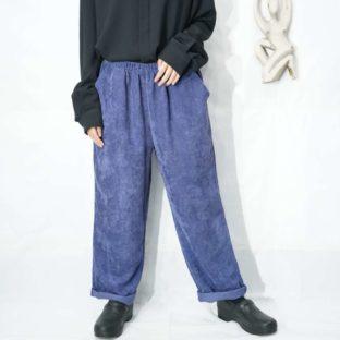blue purple glossy gradation corduroy wide easy pants *