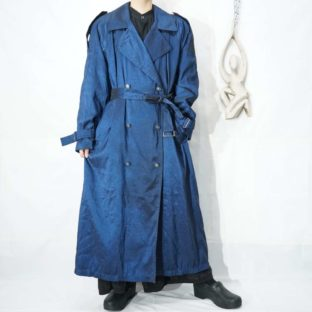 iridescent glossy blue long trench coat