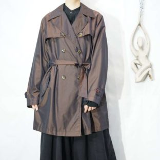 iridescent brown middle trench coat