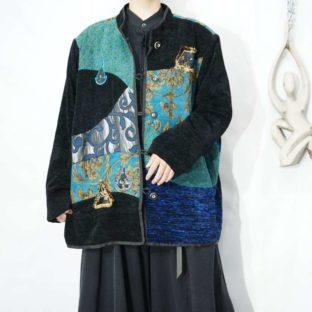 black × blue switching elegant pattern jacket *
