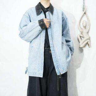 collar & cuffs corduroy switching denim jacket *