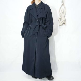 dark navy drape silhouette maxi long trench coat *