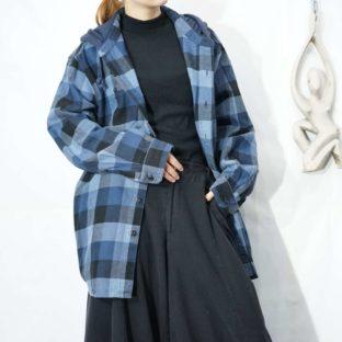 L.L.Bean blue base block check hooded shirt parka *